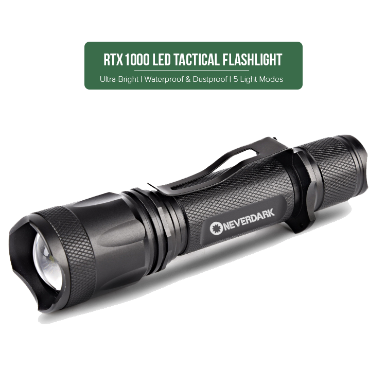 NeverDark RTX1000 Rechargeable Tactical Flashlight | 18650 Battery and USB Cable Included