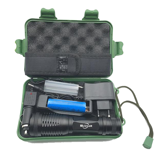 Mixxar XR1500 Military Grade Tactical Flashlight | Waterproof Case, Charger, and 18650 Rechargeable Battery Included
