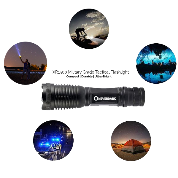 XR1500 Military Grade Tactical Flashlight | Waterproof Case, Charger, and 18650 Rechargeable Battery Included