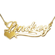 14k Gold Name Necklace - Heart