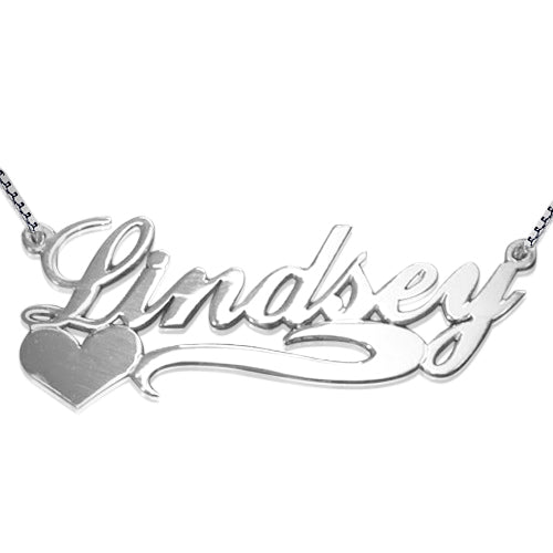 Silver Name Necklace - Side Heart