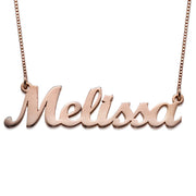 18k Rose Gold Plated Script Name Necklace