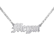 Silver Name Necklace - Double Thickness - Old English