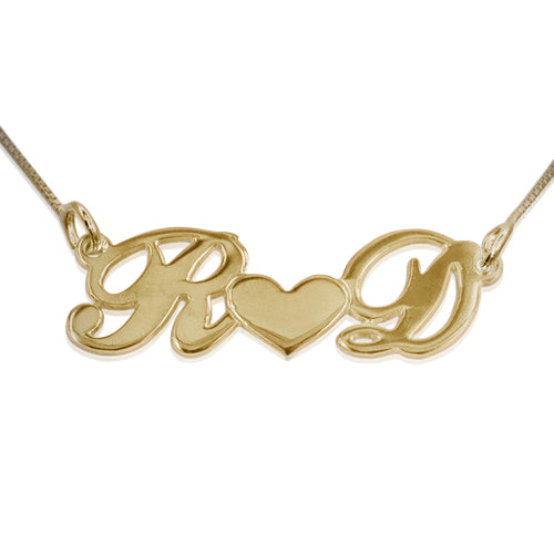 Gold-Plated Silver Necklace Couples Heart