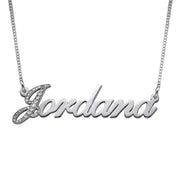 Diamond Capitalized Letter 14k White Gold Name Necklace