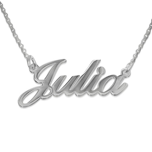 0.925 Silver Double Thickness Name Necklace With Rollo Chain