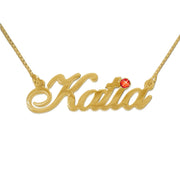 14k Gold and Swarovski Crystal Name Necklace