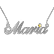 14k white Gold and Swarovski Crystal Name Necklace