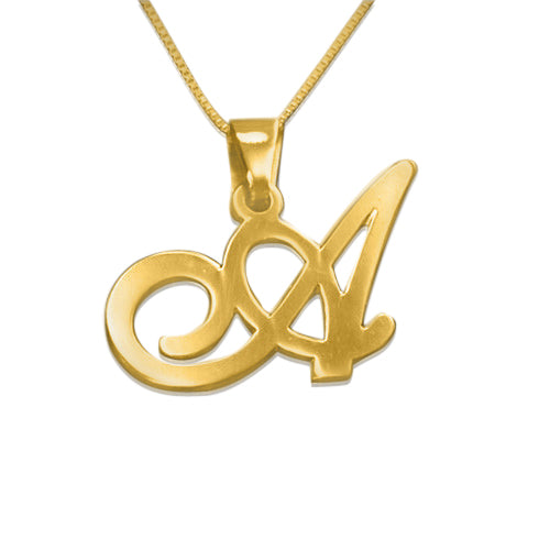 18k Gold-Plated Silver Initials Pendant - Any Letter