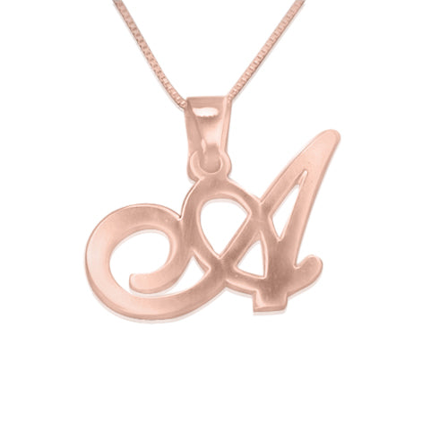 Rose Gold Plated Initials Pendant - Any Letter