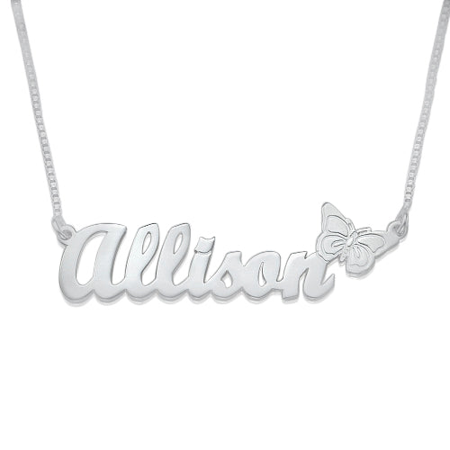 f941ca78a 0.925 Silver Name Necklace - Butterfly – Missy Name Necklace