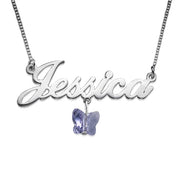Name Necklace With Swarovski Butterfly