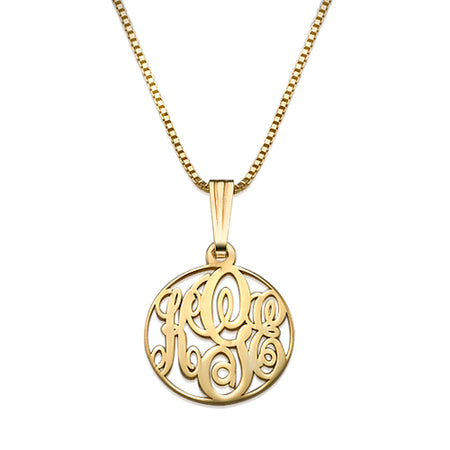 XS Circle Monogrammed Necklace in 18k Gold Plating