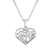 0.925 Silver Heart Monogram Necklace