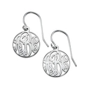 Circle Monogrammed Earrings in Silver