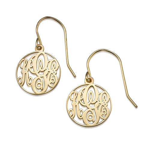 0.925 Silver 18k Gold Plating Circle Monogrammed Earrings
