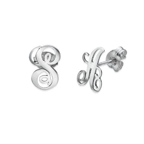 in gold stud earrings diamond initial s addiction eve