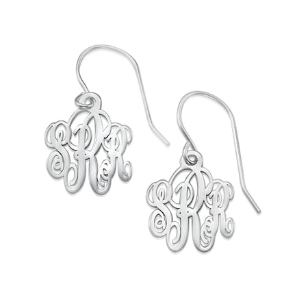 0.925 Silver Monogrammed Earrings