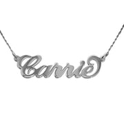 14k White Gold Name Necklace - Carrie - Twist Chain - Smaller Version