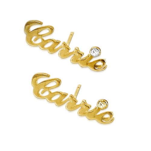 14K Gold Name Stud Earring - Crystal