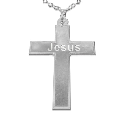 0.925 Silver Cross Pendant - Grooved Edges