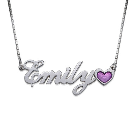 0.925 Silver Name Necklace - Color Charm