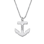 0.925 Silver Engraved Anchor Necklace