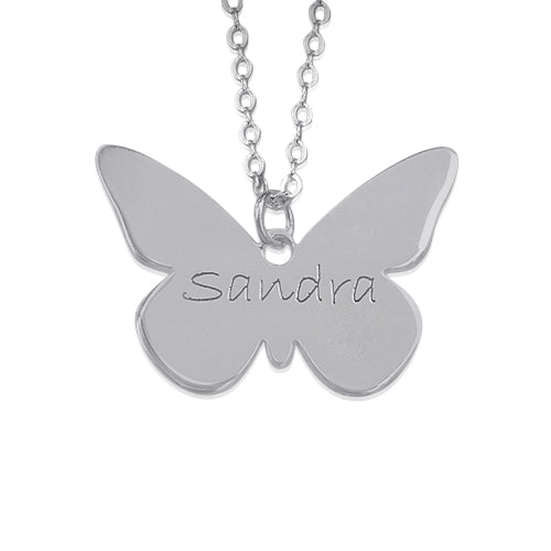Engraved Silver Pendant - Butterfly
