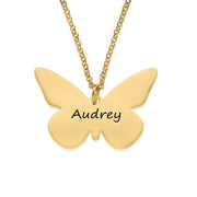 Engraved 18k Gold Plated Pendant - Butterfly