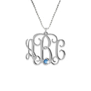 0.925 Silver Monogram Necklace - Swarovski