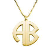 18k Gold Plated Silver Monogram Necklace - Print