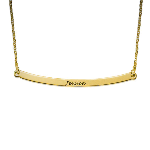 18K Gold Plated Silver Horizontal Bar Necklace