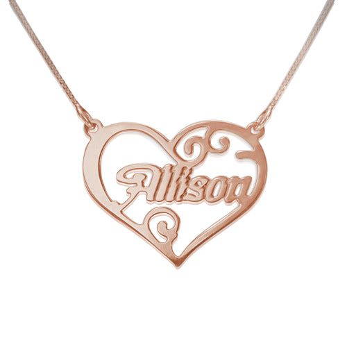 Rose Gold Plated Heart Name Necklace