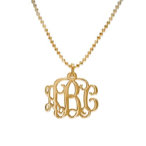 18k Gold Plated Monogram Necklace - Smaller Version