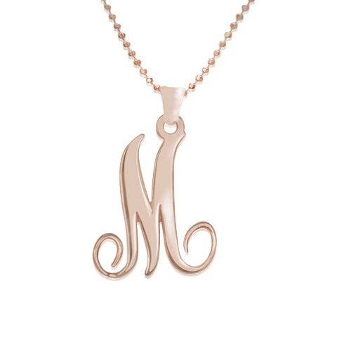 18k Rose Gold Plated Necklace - Single Initial