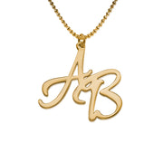 18K Gold Plated 0.925 Silver Two Initial Necklace