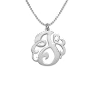 0.925 Silver Swirly Initial Necklace