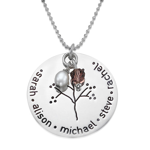 0.925 Silver Necklace With a Family Tree