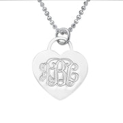 0.925 Silver Engraved Monogram Heart Necklace
