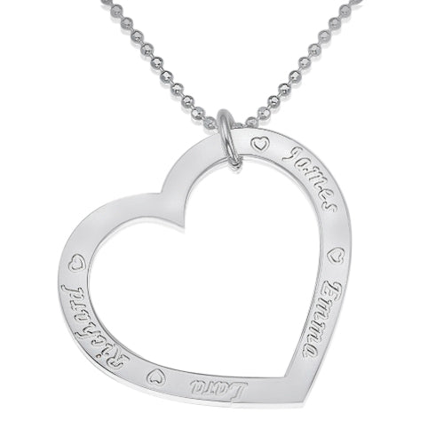 0.925 Silver Family Heart Necklace