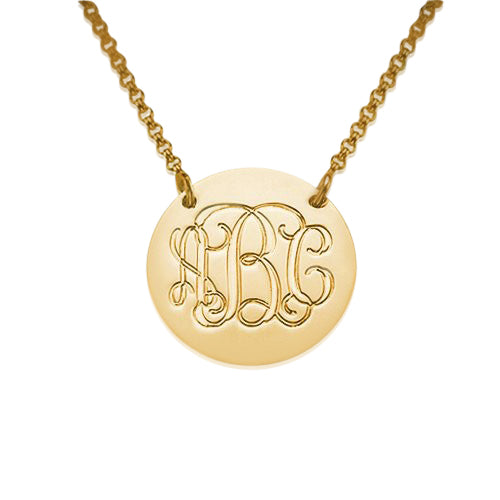18K Gold Plated 0.925 Silver Monogram Disc Necklace