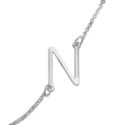 0.925 Silver Side Initial Necklace