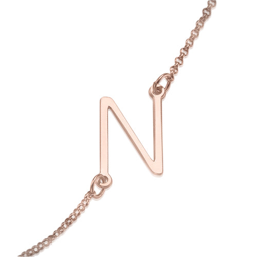 Rose Gold Plated Side Initial Necklace