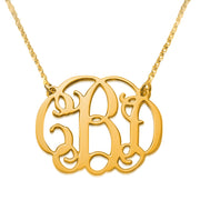 18k Gold Plated 0.925 Silver Monogram Necklace - Double Snag