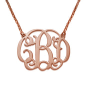 18k Rose Gold Plating Necklace with Monogram