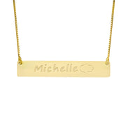 18k Gold over Silver Bar Necklace with Icons