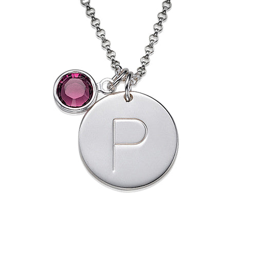 0.925 Silver Initial Charm Pendant with Crystal