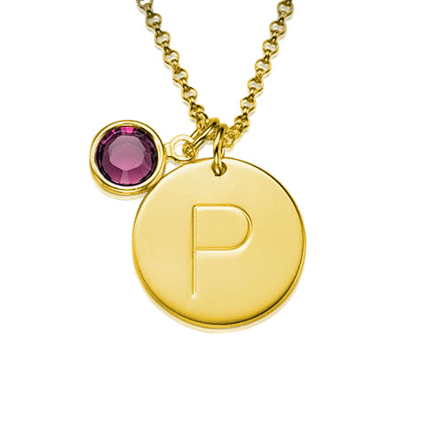 18k Gold-Plated 0.925 Silver Initial Charm Pendant with Crystal