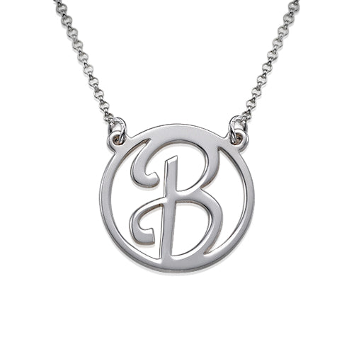 0.925 Silver Cut Initial Necklace