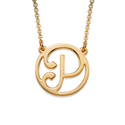 18k Gold Plated Initial Necklace - Cut Out Style